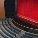 aerial view of GWLT Theater stage and partial seating