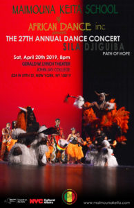 A poster of Maimouna Keita School of African Dance inc's 27th Annual Dance Concert with images of performers performing and information regarding the concert