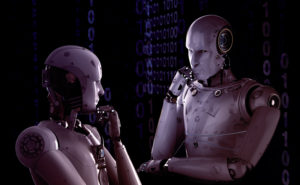 Two robots looking at each other by putting their hand on chin