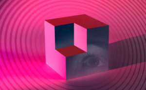 A picture of an eye on a cube